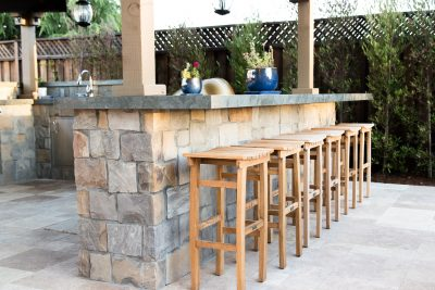 wood chairs and bar