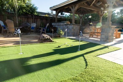 lawn with custom mini golf course