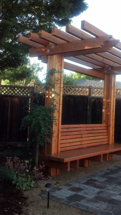 custom wood pergola with bench