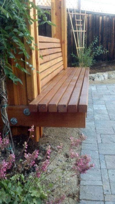 custom wood bench and patio