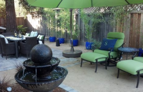 outdoor stone deck with fountain