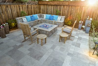 stone pavement with custom fire pit and bench
