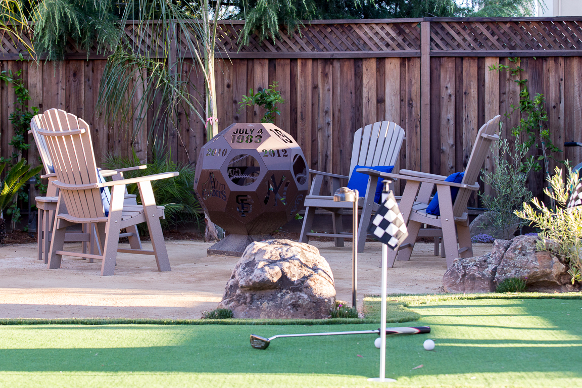 custom fire pit and mini golf course