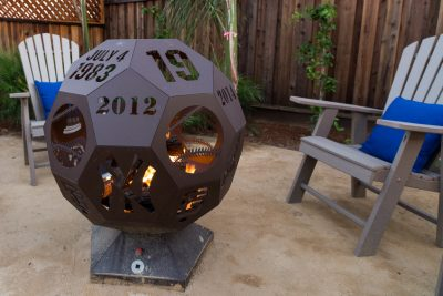custom baseball fire pit