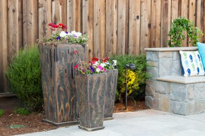 three custom outdoor flower pots