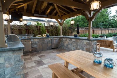 custom kitchen and pergola