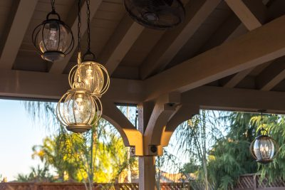 pergola with custom lights