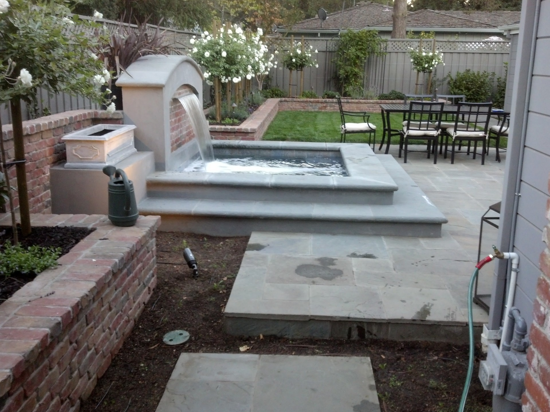 Fountain installation and stone walkway